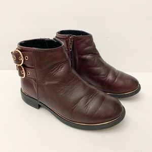 Zara toddler girls boots 9 burgundy leather
